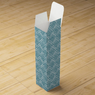Chic Ethnic Ogee Pattern in Teal on White Wine Bottle Box