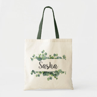 Chic Eucalyptus Foliage Frame Personalized Tote Bag