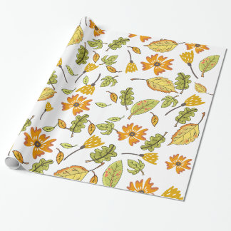 Chic Fall leaves and flowers wrapping paper