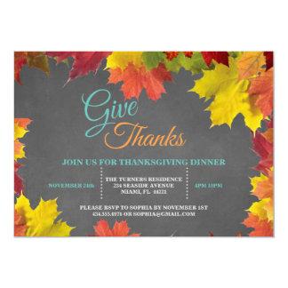 Chic Fall Leaves Chalkboard Thanksgiving Dinner Card