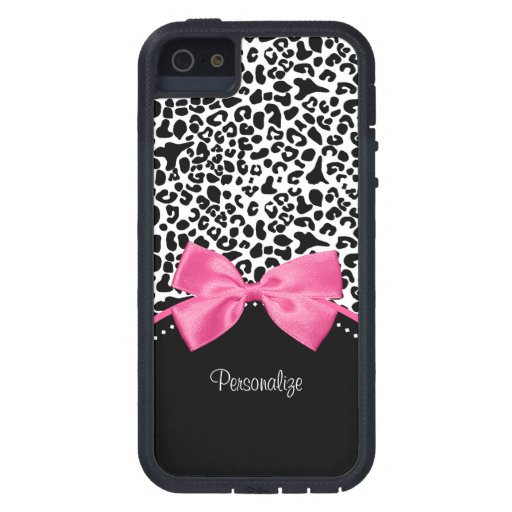 Chic Fashion Leopard Print With Hot Pink Ribbon iPhone 5 Cover