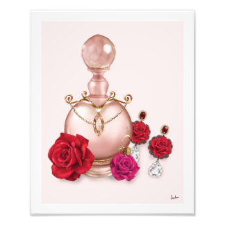 Chic Fashion Rose Gold Perfume Bottle Earrings Photo Print