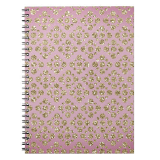 Chic Faux Glitter Gold Dots Mauve Spiral Notebook