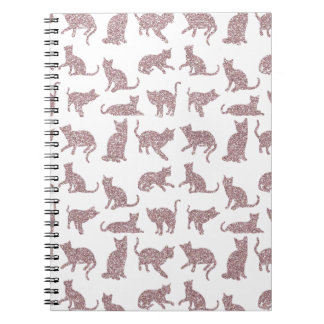 Chic Faux Glitter Mauve Cats White Spiral Notebook