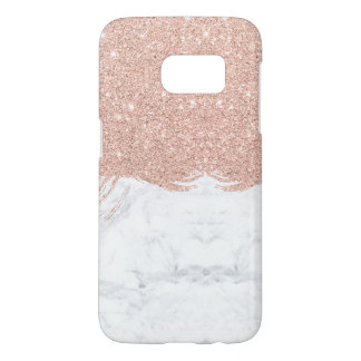 Chic faux glitter rose gold brushstrokes marble samsung galaxy s7 case