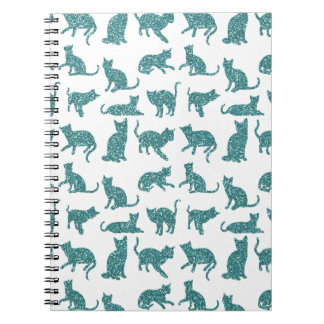 Chic Faux Glitter Teal Cats White Spiral Notebook