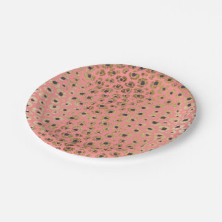 Chic Faux Gold and Black Cheetah Print on Coral Paper Plate