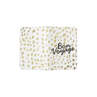Chic faux gold brush polka dots Bon Voyage saying Passport Holder