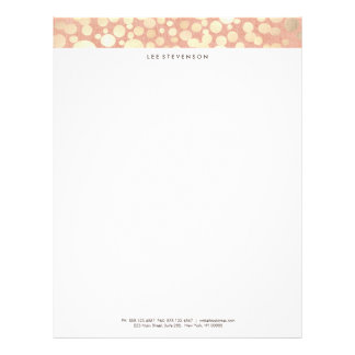 Chic Faux Gold Foil Circle Pattern Coral Letterhead Template