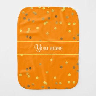 Chic Faux Gold Foil Confetti Orange Burp Cloths