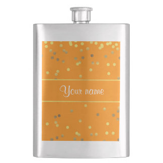 Chic Faux Gold Foil Confetti Orange Flasks