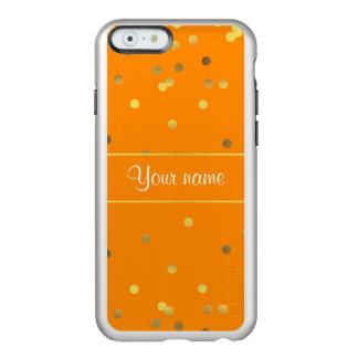 Chic Faux Gold Foil Confetti Orange Incipio Feather® Shine iPhone 6 Case