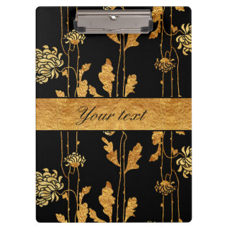 Chic Faux Gold Foil Flowers on Black Clipboard