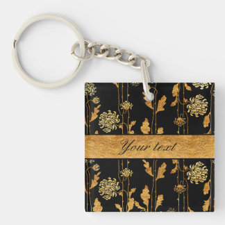 Chic Faux Gold Foil Flowers on Black Double-Sided Square Acrylic Keychain