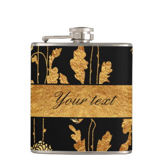 Chic Faux Gold Foil Flowers on Black Hip Flask