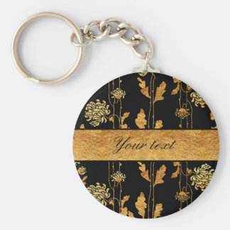 Chic Faux Gold Foil Flowers on Black Keychain