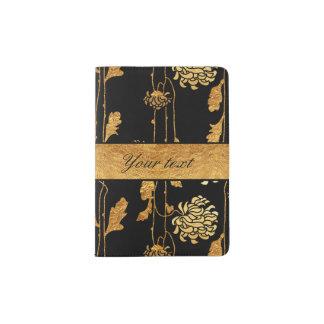 Chic Faux Gold Foil Flowers on Black Passport Holder