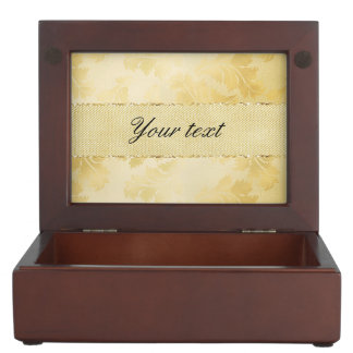 Chic Faux Gold Foil Leaves and Glitter Keepsake Boxes