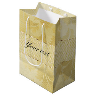 Chic Faux Gold Foil Leaves and Glitter Medium Gift Bag