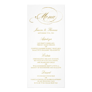 Chic Faux Gold Foil Wedding Menu Template Full Color Rack Card