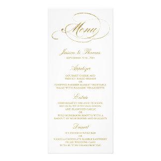 Chic Faux Gold Foil Wedding Menu Template Full Color Rack Card