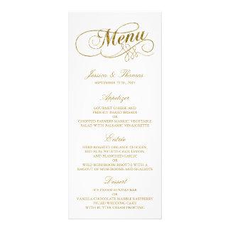 Chic Faux Gold Foil Wedding Menu Template Rack Card