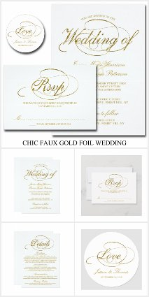 Chic Faux Gold Foil Wedding Templates