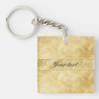Chic Faux Gold Glitter Chevrons Double-Sided Square Acrylic Keychain