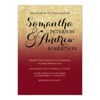 Chic faux gold glitter custom burgundy wedding card