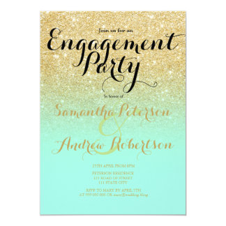 "Chic faux gold glitter mint green engagement party 5"" x 7"" invitation card"