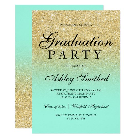 Chic faux gold glitter mint green Graduation party Card