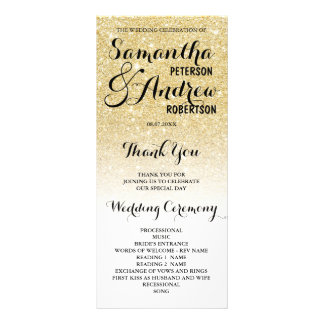 Chic faux gold glitter ombre Wedding Program Rack Card