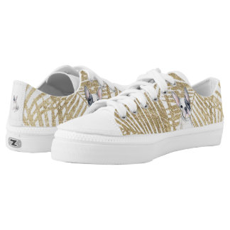 Chic faux gold glitter palm tree french bulldog Low-Top sneakers