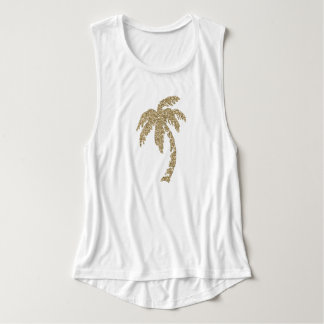 Chic Faux Gold Glitter Palm Tree White Tank Top