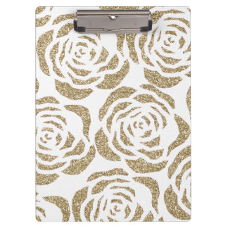Chic Faux Gold Glitter Roses Floral Clipboard