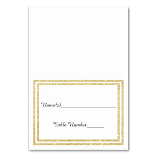 Chic Faux Gold Glittered Trim - Escort Card