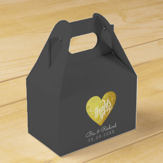 chic faux gold heart of love, 'thank you' wedding favor box