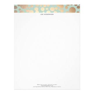 Chic Faux Gold Leaf Circle Pattern and Turquoise Letterhead Design