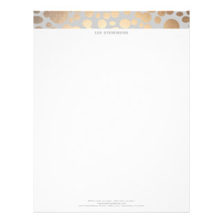 Chic Faux Gold Leaf Circle Pattern Letterhead