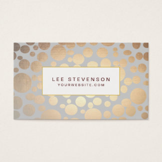 Chic Faux Gold Leaf Circles Light Gray Business Card