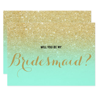 Chic faux gold mint Will you be my Bridesmaid Card