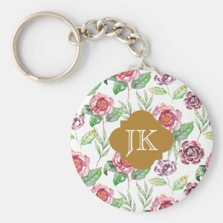 Chic Faux Gold Monogram Floral Watercolor Basic Round Button Keychain
