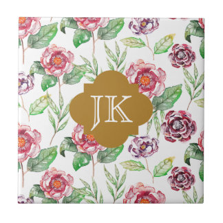 Chic Faux Gold Monogram Floral Watercolor Ceramic Tile