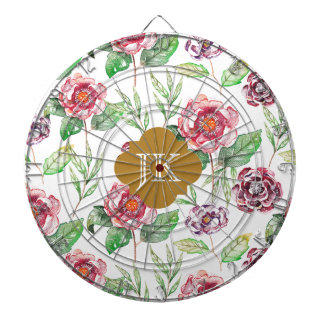 Chic Faux Gold Monogram Floral Watercolor Dart Board
