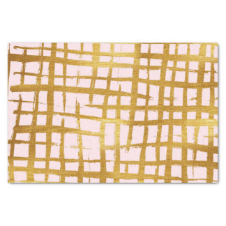 Chic Faux Gold Paint Brushstroke Grid Pattern Pink Tissue Paper