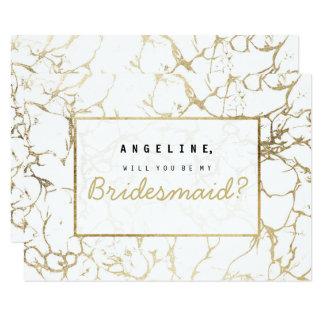 Chic faux gold white modern marble bridesmaid card