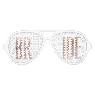 Chic Faux Rose Gold Bride Sunglasses