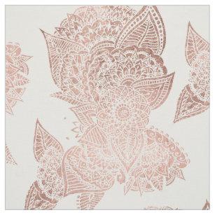 Chic faux rose gold floral mandala illustration fabric