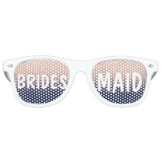 Chic faux rose gold glitter navy blue Bridesmaid Retro Sunglasses
