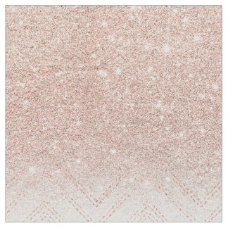 Chic faux rose gold glitter ombre modern chevron fabric